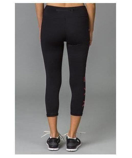 Fitwear 3/4 Text Leggings Pastel Red-Fitwear-Gym Wear