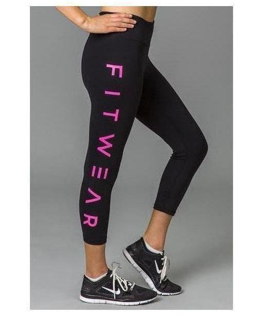 Image of Fitwear 3/4 Text Leggings Pink