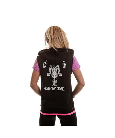 Gold's Gym Muscle Joe Fitted Sleeveless Hoodie Black-Golds Gym-Gym Wear