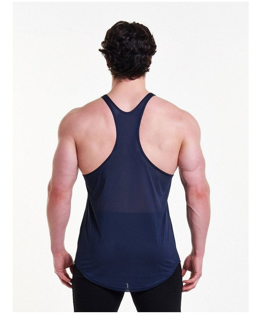 Pursue Fitness Mesh Back Stringer Vest Navy-Pursue Fitness-Gym Wear