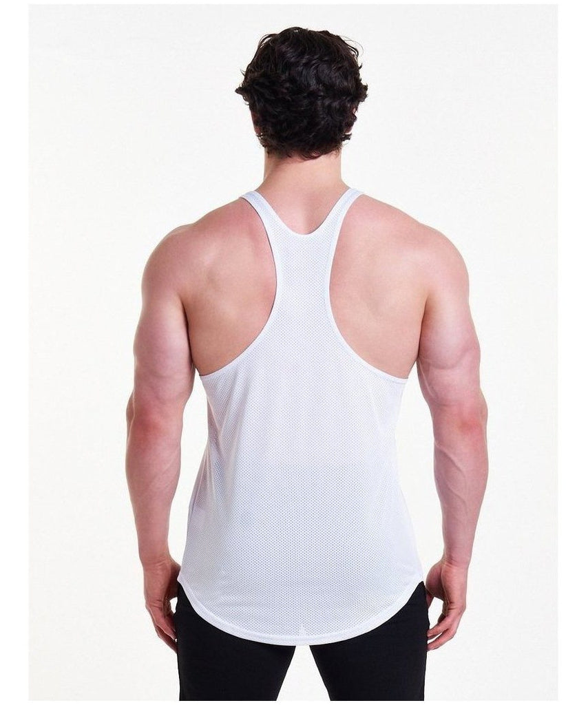 Pursue Fitness Mesh Back Stringer Vest White-Pursue Fitness-Gym Wear