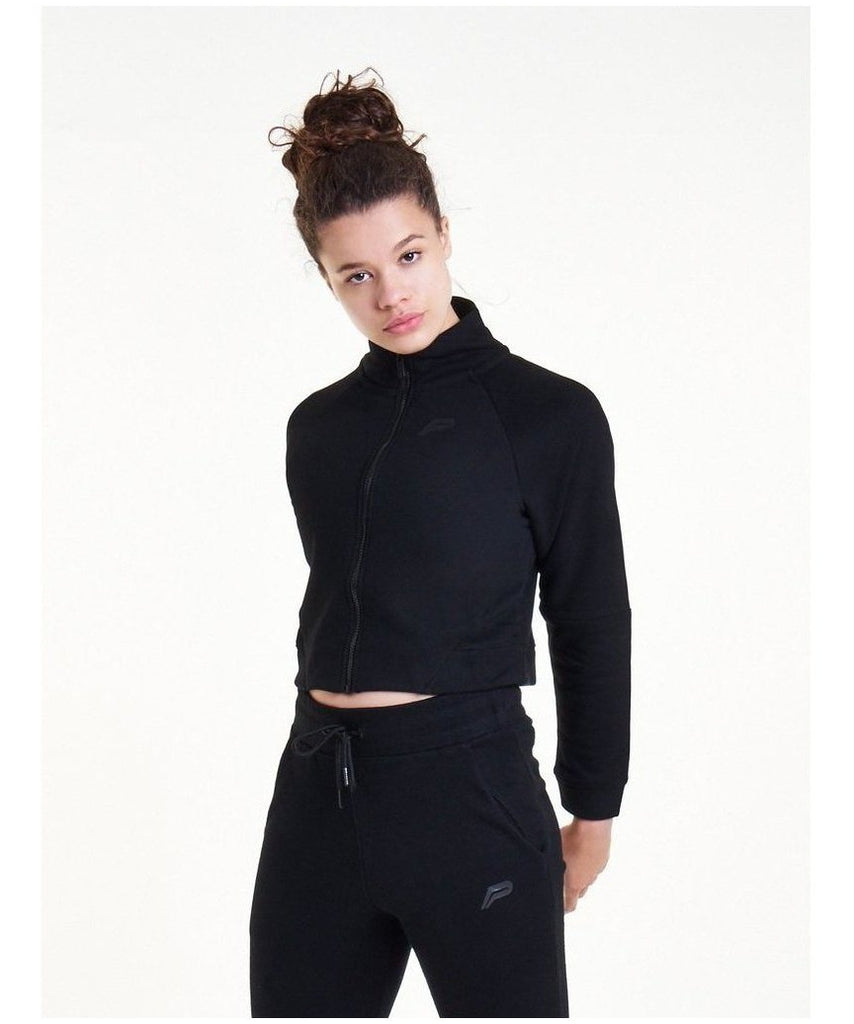 Pursue Fitness Retro Crop Fleece Jacket Black-Pursue Fitness-Gym Wear
