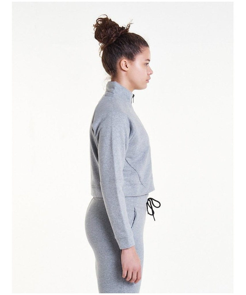 Pursue Fitness Retro Crop Fleece Jacket Grey-Pursue Fitness-Gym Wear