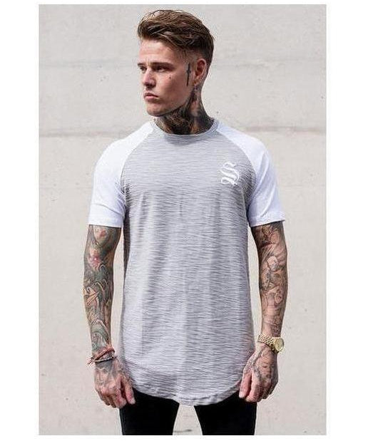 Image of Sinners Attire Flannel Longline T-Shirt Grey