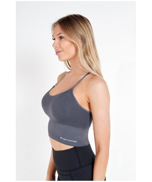 Famme Power Seamless Top Grey-Famme-Gym Wear