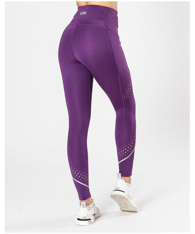ICIW 7/8 Stripe High Waisted Leggings Purple-ICIW-Gym Wear