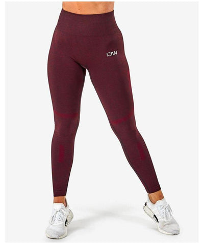 ICIW Seamless High Waisted Leggings Burgundy-ICIW-Gym Wear