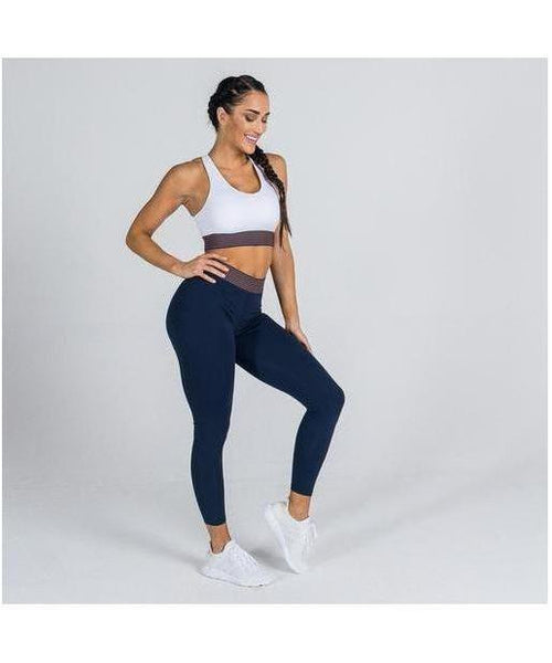 Squat Wolf Stripes Sports Bra White-Squat Wolf-Gym Wear