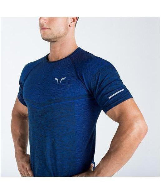 Squat Wolf Seamless Dry Knit T-Shirt Electro Blue-Squat Wolf-Gym Wear