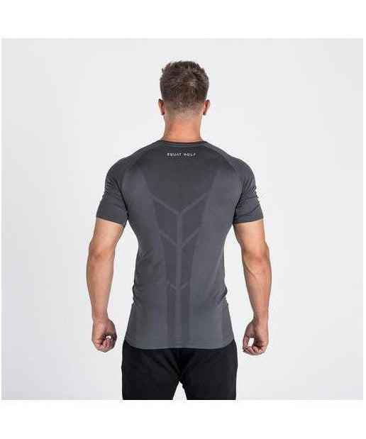 Squat Wolf Seamless Spyder T-Shirt Grey-Squat Wolf-Gym Wear