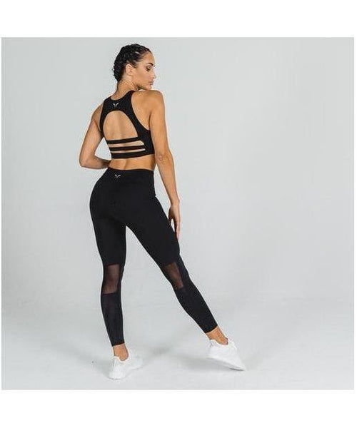 Squat Wolf Mesh Sports Bra Black-Squat Wolf-Gym Wear