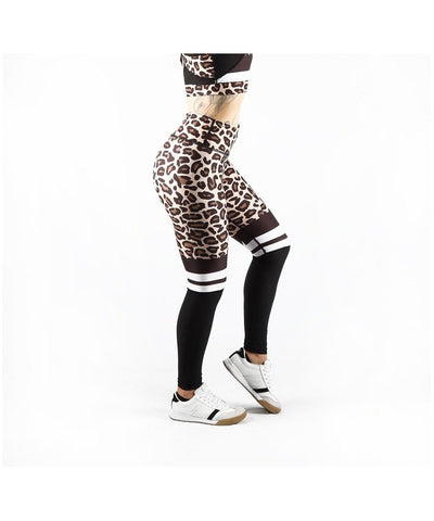 Combat Dollies Leopard Print Half Mesh Fitness Leggings-Combat Dollies-Gym Wear