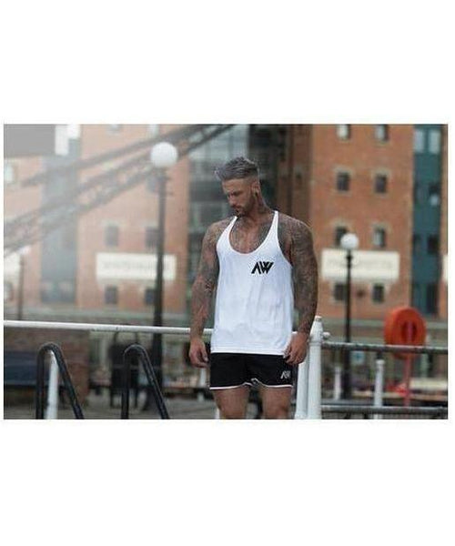 Aspire Wear Bold Logo Vest White-Aspire Wear-Gym Wear