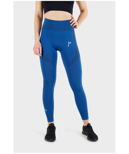Famme Future High Waisted Leggings Blue-Famme-Gym Wear