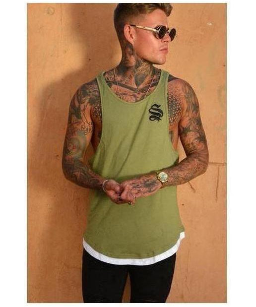 Sinners Attire Layered Vest Khaki-Sinners Attire-Gym Wear
