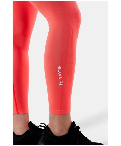 Famme Vortex High Waisted Leggings Coral-Famme-Gym Wear