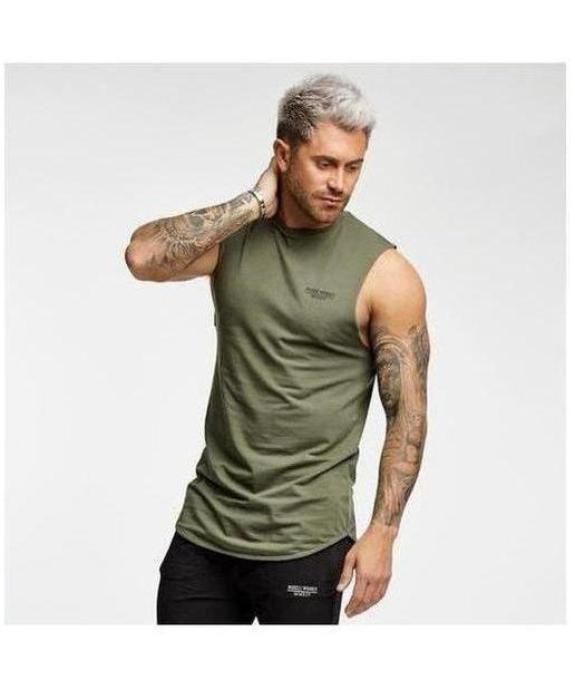 Image of Muscle Monkey Only The Strong Survive Sleeveless T-Shirt Khaki