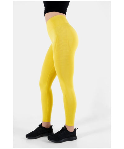 Famme Vortex High Waisted Leggings Yellow-Famme-Gym Wear