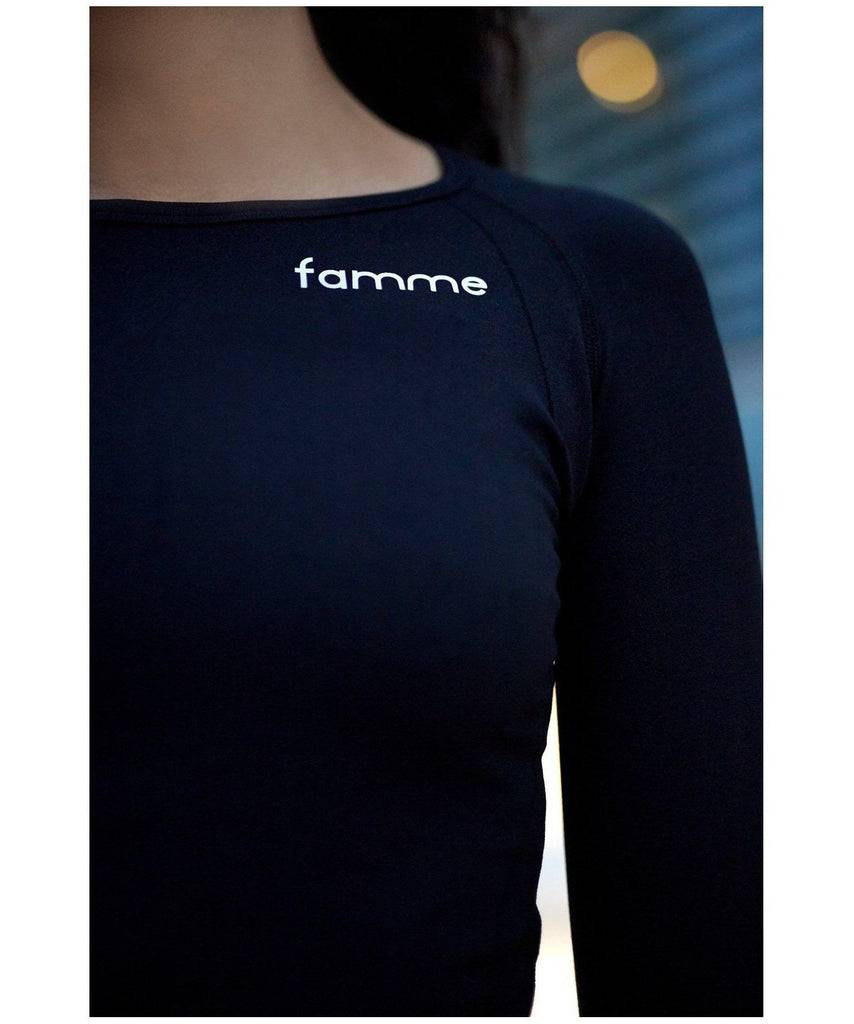 Famme Tone Long Sleeve Top Black-Famme-Gym Wear