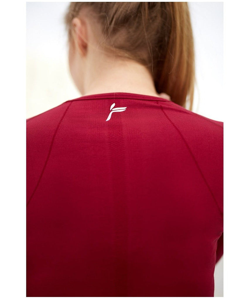 Famme Tone Long Sleeve Top Red-Famme-Gym Wear