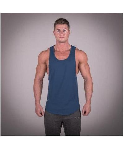 Squat Wolf Muscle Stringer Blue-Squat Wolf-Gym Wear