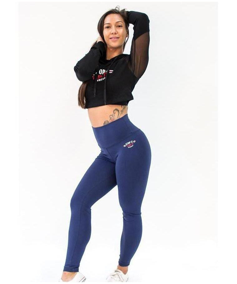 Stop It I Like It High Waisted Scrunch Leggings Navy-Stop It I Like It-Gym Wear