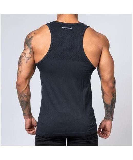 Muscle Nation Ghost V2 Seamless Vest Black-Muscle Nation-Gym Wear
