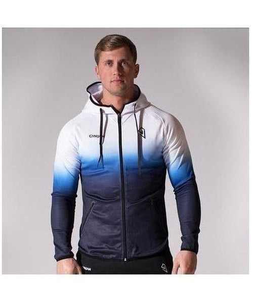 GymJam Fine Fit Fade Hoodie White/Blue-GymJam-Gym Wear