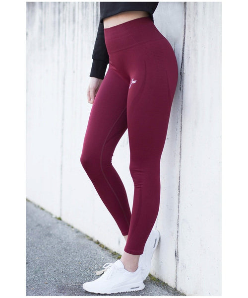 Famme Vortex High Waisted Leggings Bordeaux-Famme-Gym Wear