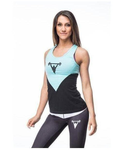 Cut Above 'Kontrast' Womens Vest Black/Teal-Cut Above-Gym Wear