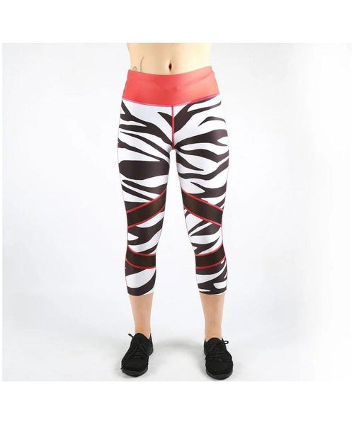Combat Dollies Zebra Capri Fitness Leggings-Combat Dollies-Gym Wear