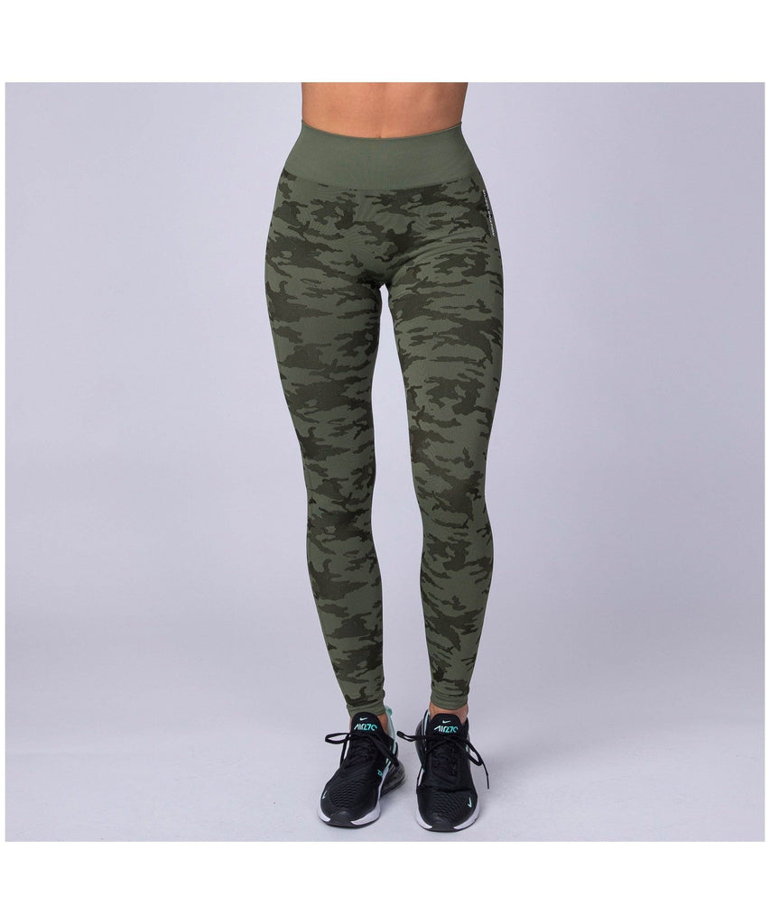 Muscle Nation Seamless High Waisted Leggings Green Camo-Muscle Nation-Gym Wear