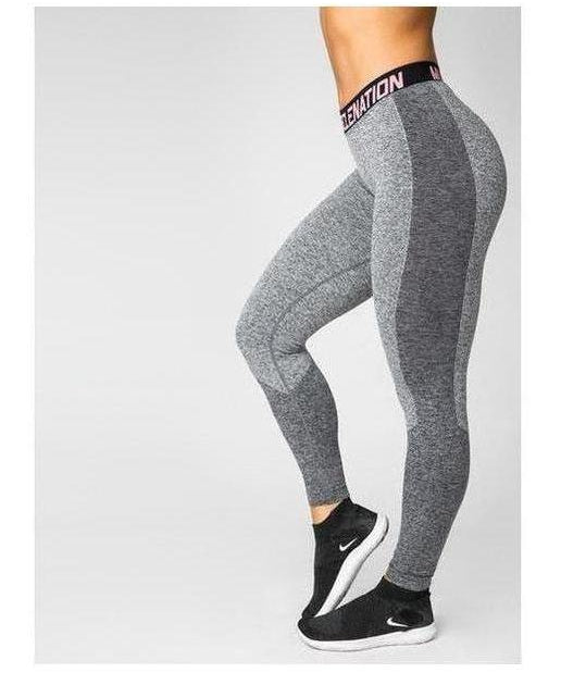 Image of Muscle Nation Luxe Seamless Leggings Grey/Black