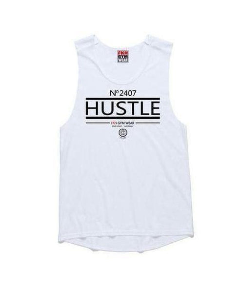 Womens FKN Hustle Sleeveless T-Shirt White-FKN Gym Wear-Gym Wear