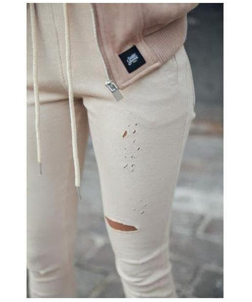 Sixth June Destroyed Joggers Beige-Sixth June-Gym Wear