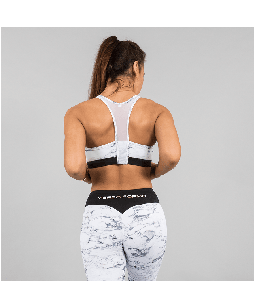 Versa Forma White Marble Sports Bra-Versa Forma-Gym Wear