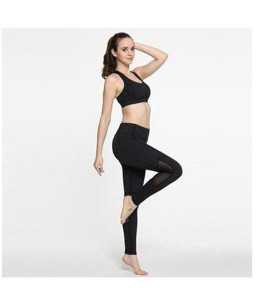 GymWear Mesh Panel Leggings Black-GymWear-Gym Wear