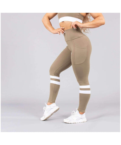 Versa Forma Lagom High Waisted Leggings Khaki-Versa Forma-Gym Wear