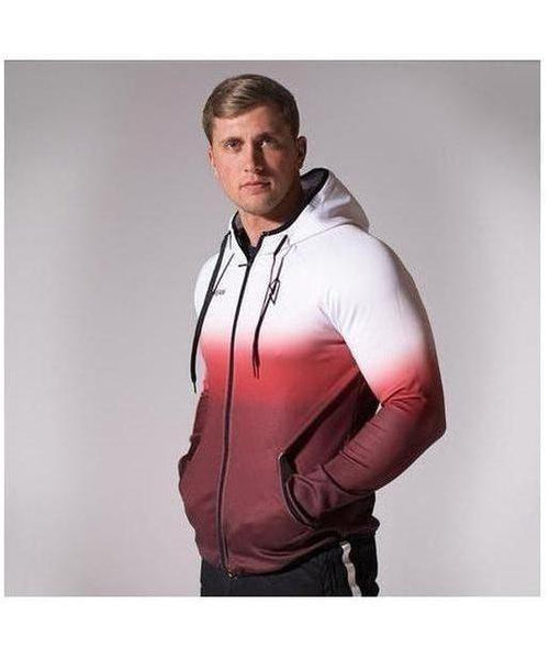 GymJam Fine Fit Fade Hoodie White/Red-GymJam-Gym Wear