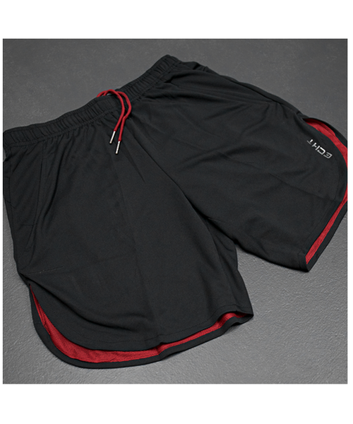 Echt Icon Curved Mesh Shorts Black/Red-Echt-Gym Wear