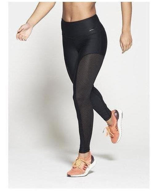 Pursue Fitness Allure High Waisted Leggings Panelled Mesh Black-Pursue Fitness-Gym Wear