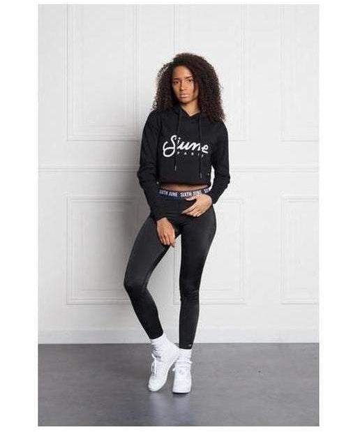 Sixth June Sport Logo Cropped Hoodie Black