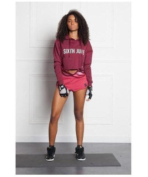 Sixth June Destroyed Sport Hoodie Burgundy