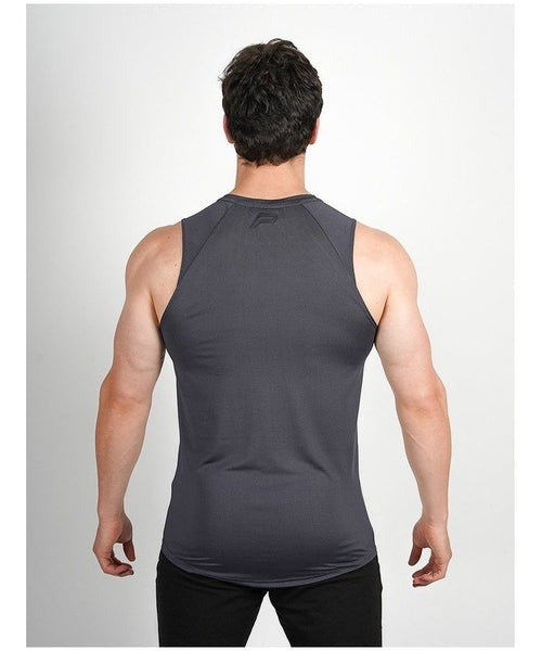 Pursue Fitness Breatheasy Sleeveless T-Shirt Grey-Pursue Fitness-Gym Wear