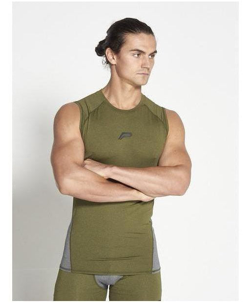 Pursue Fitness Compression Sleeveless T-Shirt Khaki-Pursue Fitness-Gym Wear