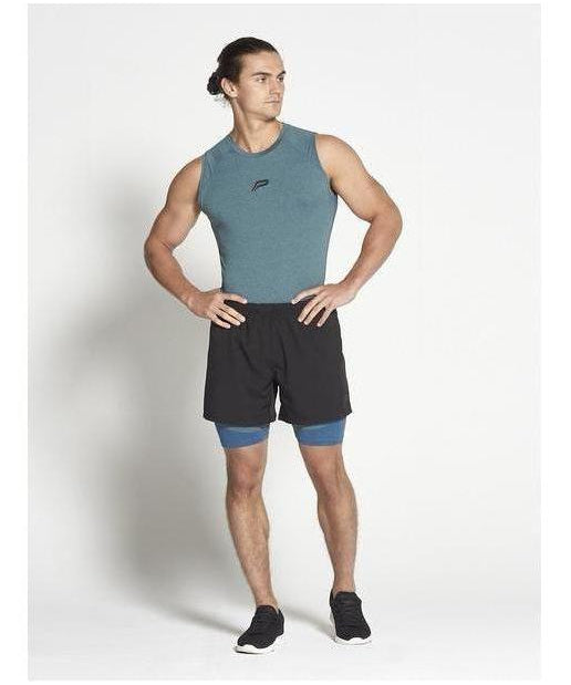 Pursue Fitness Compression Sleeveless T-Shirt Teal-Pursue Fitness-Gym Wear