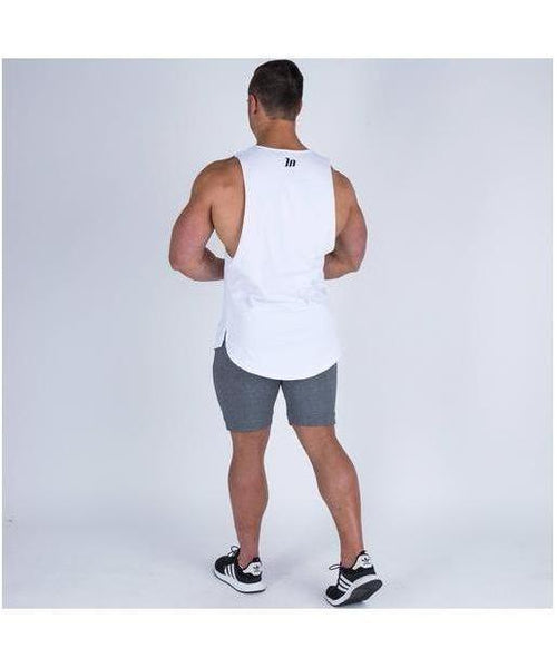 Muscle Nation Oversize Drop Armhole Sleeveless T-Shirt White-Muscle Nation-Gym Wear