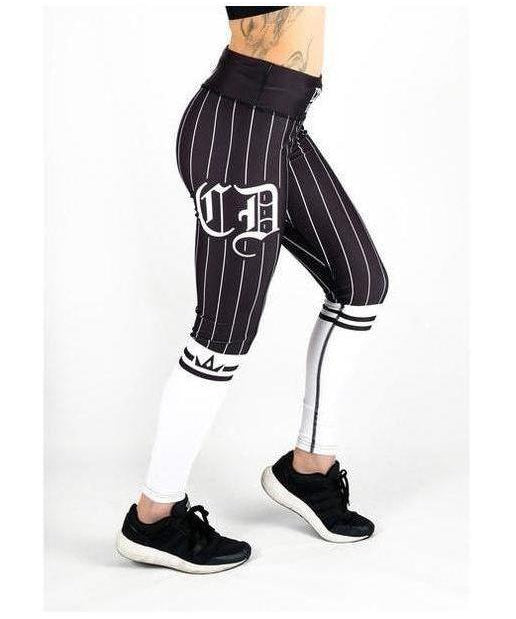 Combat Dollies Baseball Fitness Leggings White/Black-Combat Dollies-Gym Wear