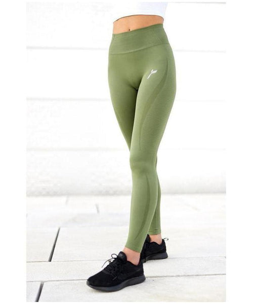 Famme Vortex High Waisted Leggings Army Green-Famme-Gym Wear