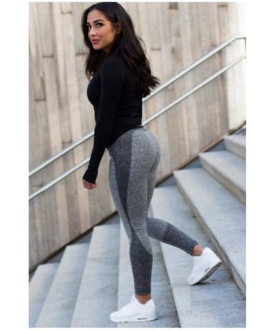 Famme Wave High Waisted Leggings Dark Grey-Famme-Gym Wear